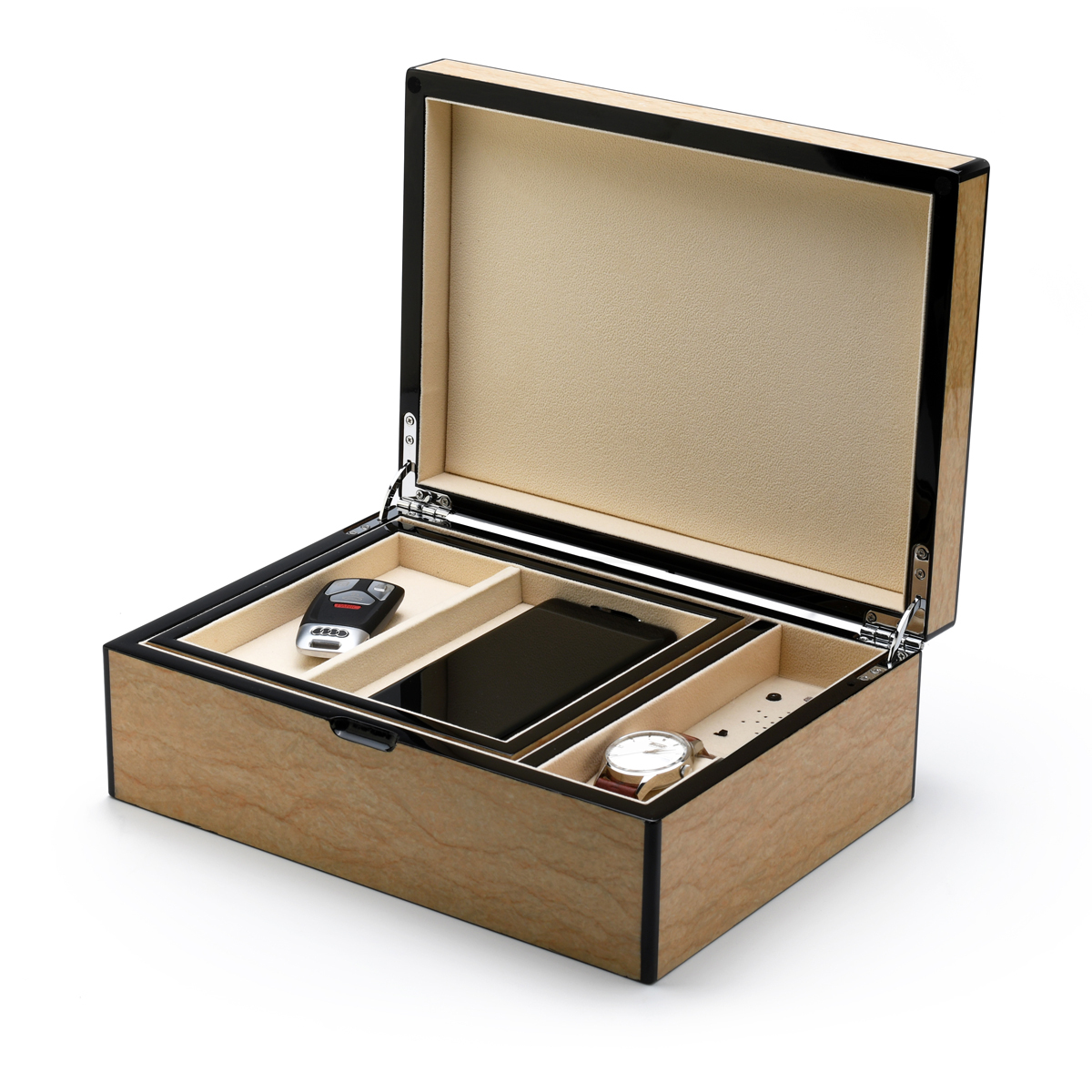 Contemporary Hi-Gloss Sand Finish Mens Valet Custom USB Module Wooden Musical Jewelry Box