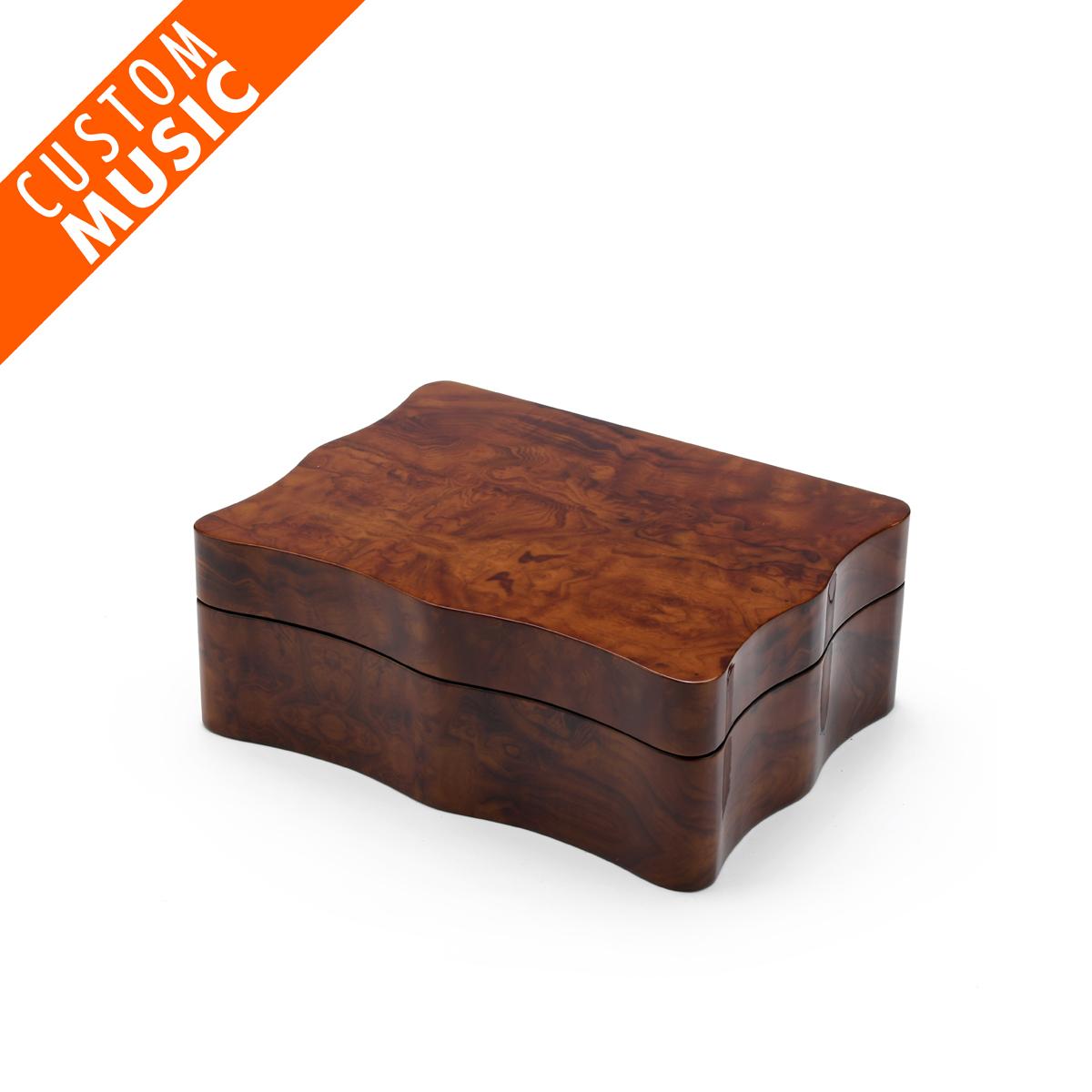 Gorgeous Scalloped Shape Custom USB Module Wooden Musical Jewelry Box