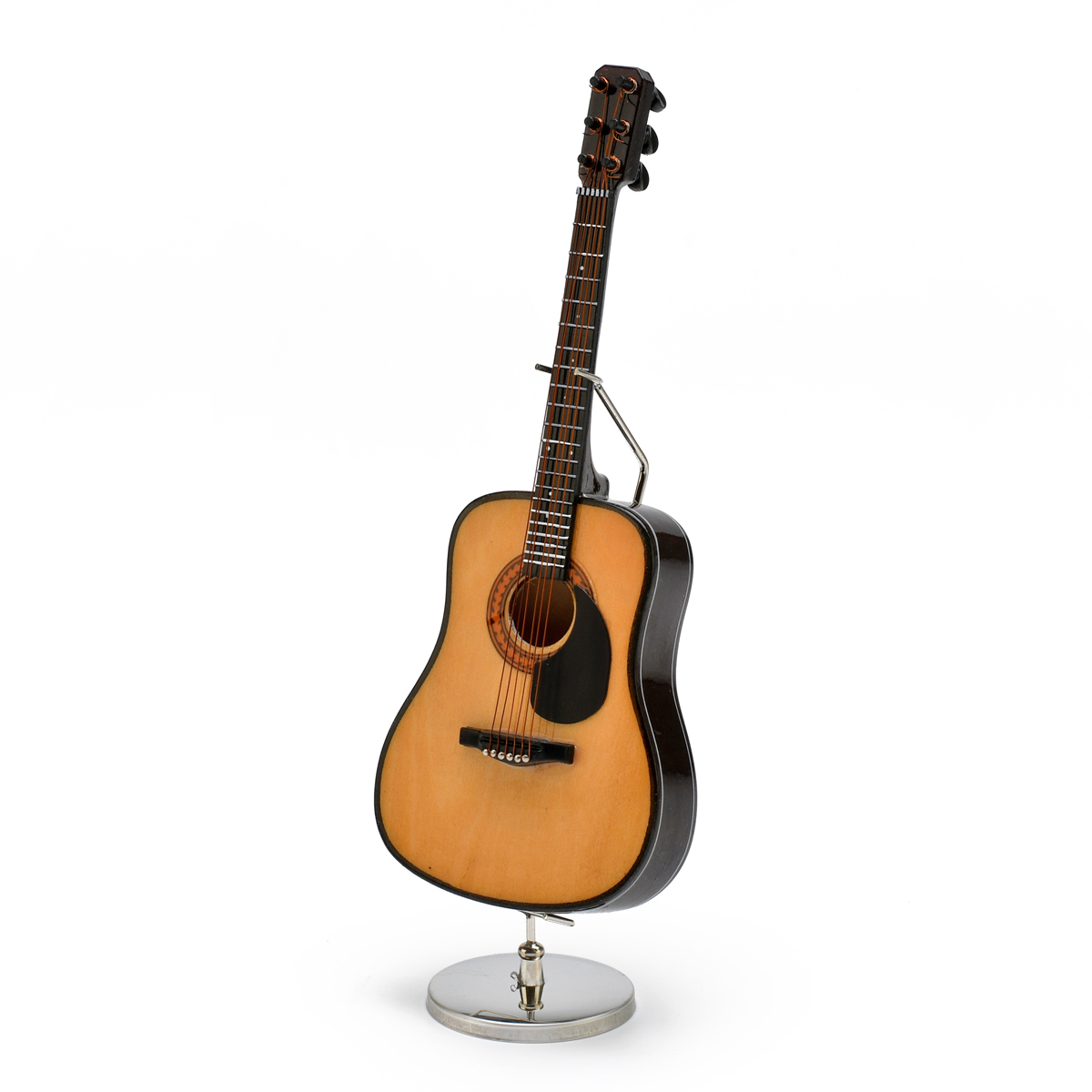 A Miniature Replica of a Classical Acoustic Guitar With Stand and Case