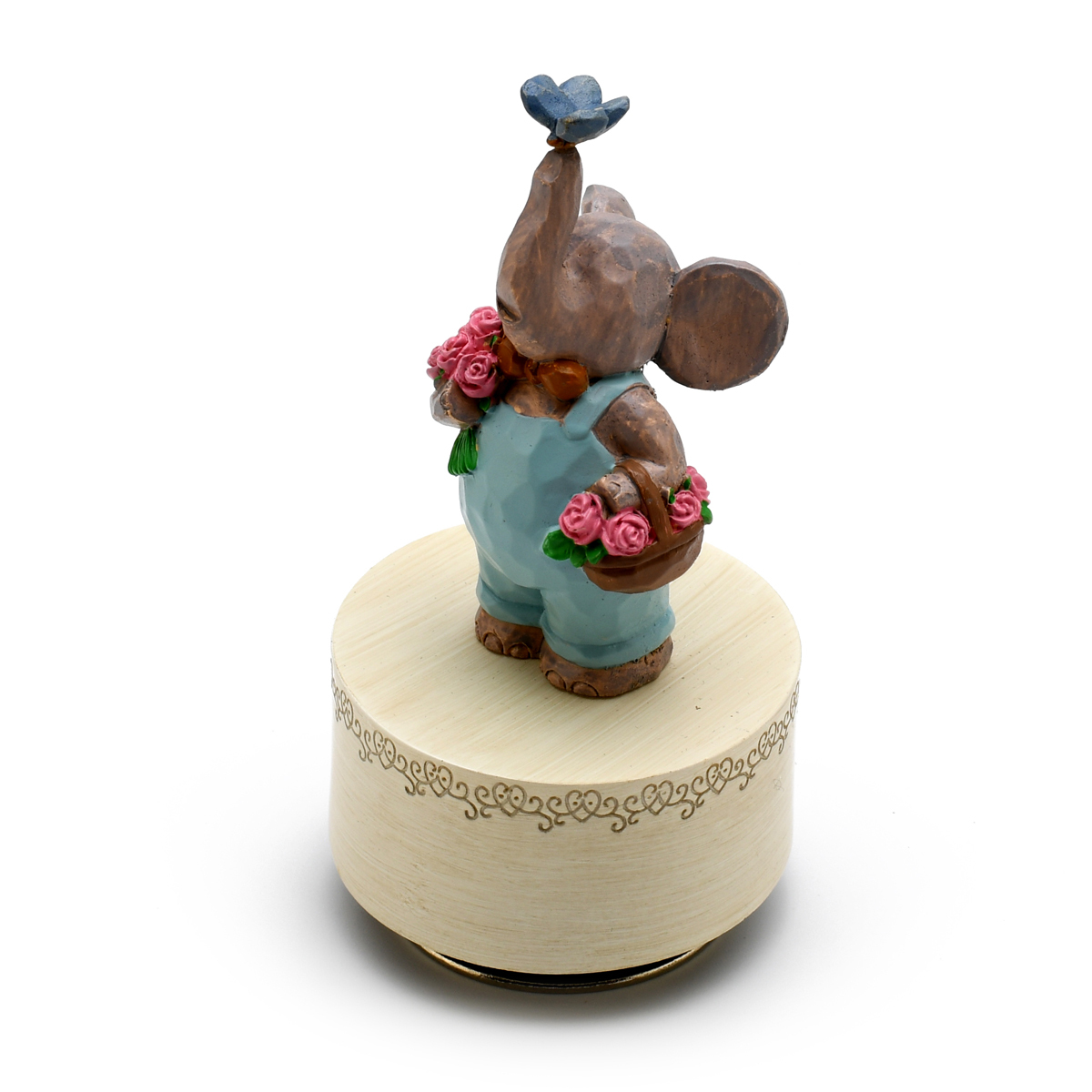 Sculpted 18 Note Curious Elephant with Butterfly Musical Figurine - Choose Your Song