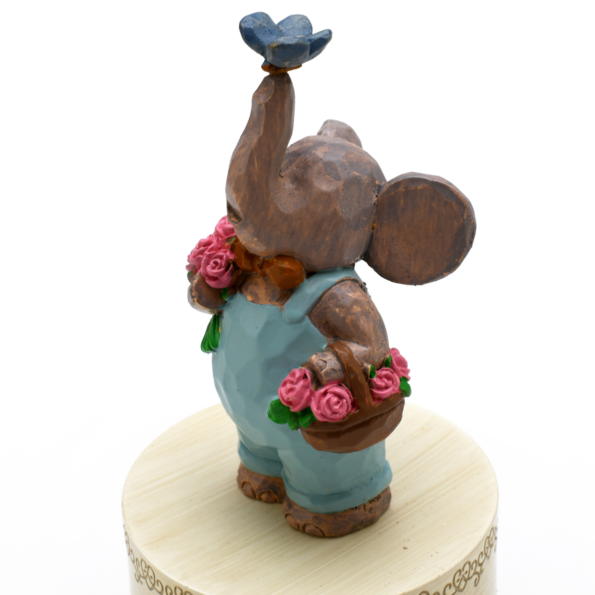 Sculpted 18 Note Curious Elephant with Butterfly Musical Figurine