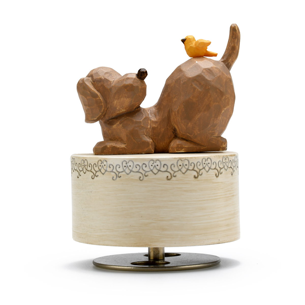 Sculpted 18 Note Dog with Yellow Bird Musical Figurine - Choose Your Song