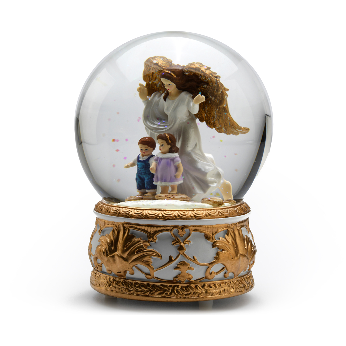 Guardian Angel Protecting Children Musical Snow / Water Globe