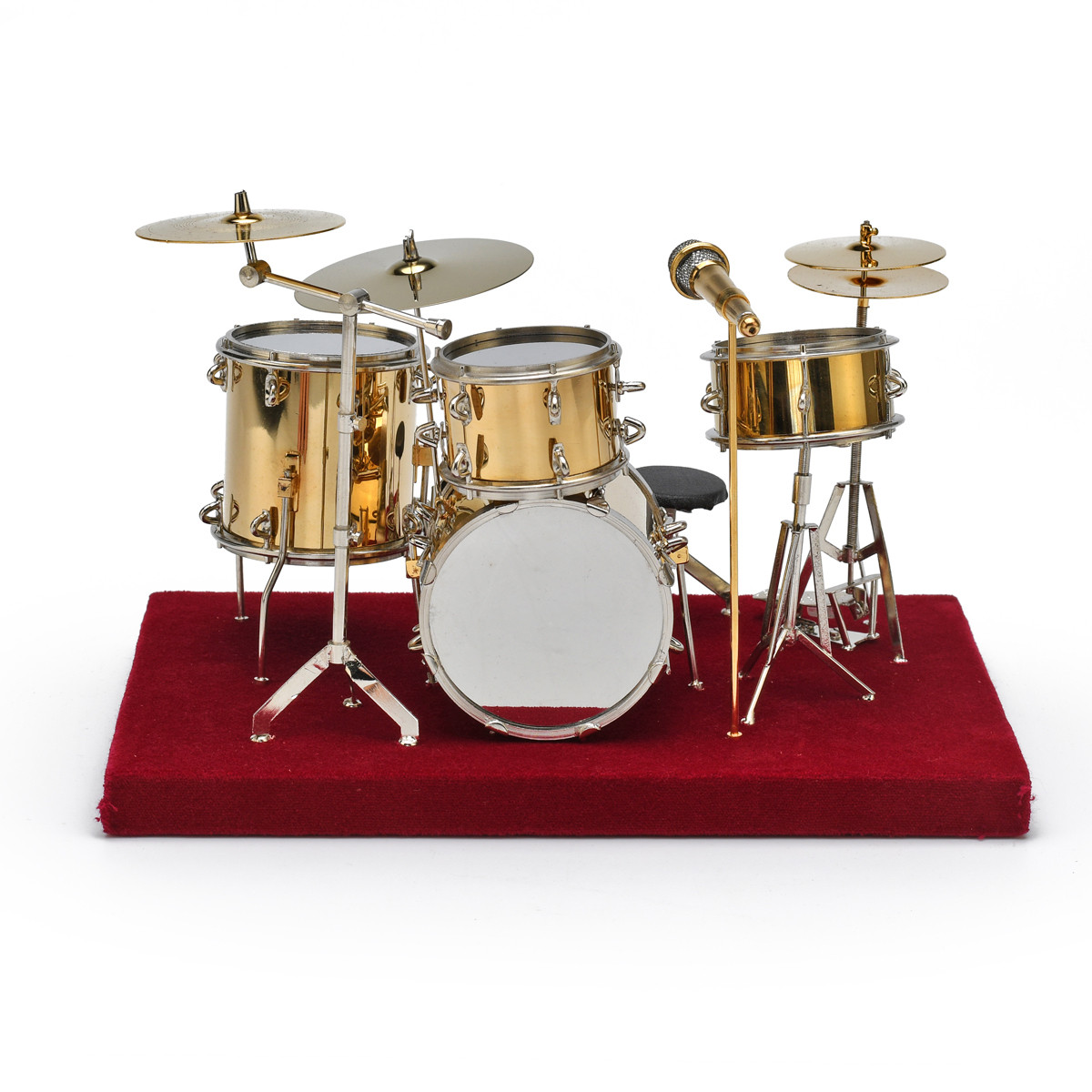 Incredible Miniature Replica of Complete Gold Drum Set with Case