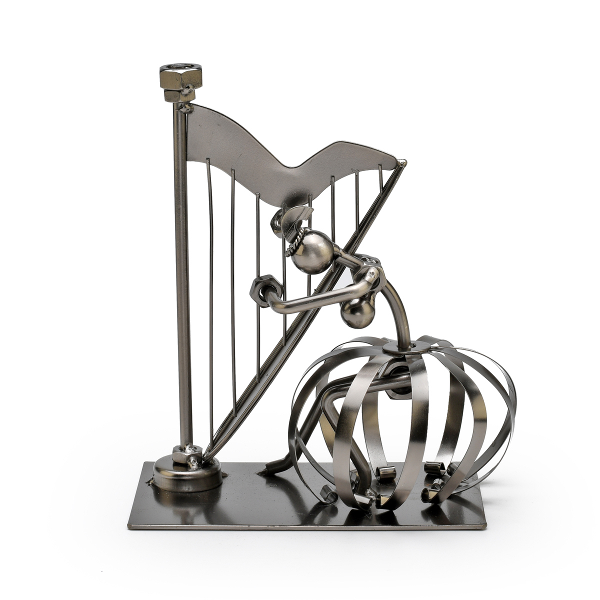 Handcrafted Metal Musician with Harp Figurine