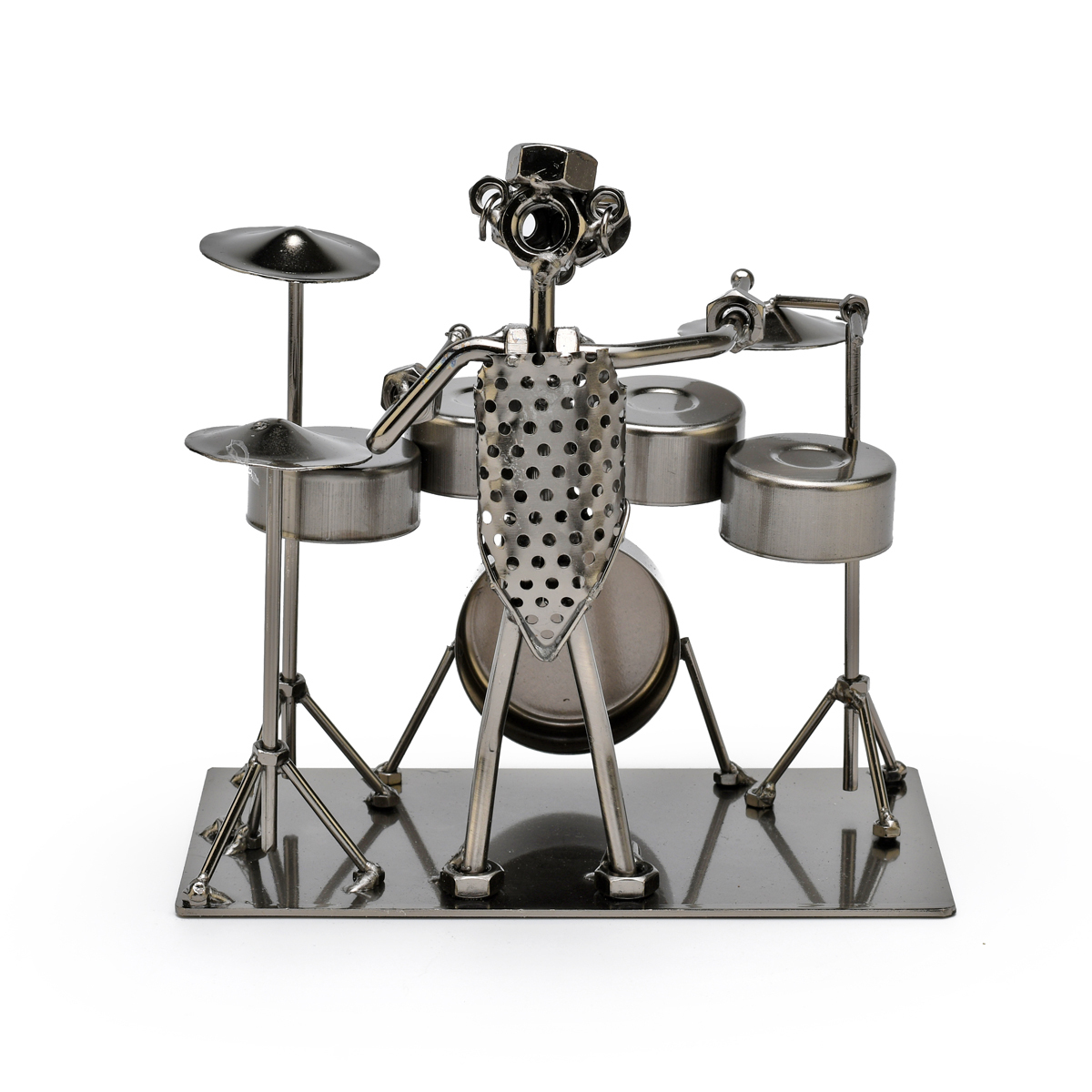 Handcrafted Metal Musician with Full Drum Set Figurine