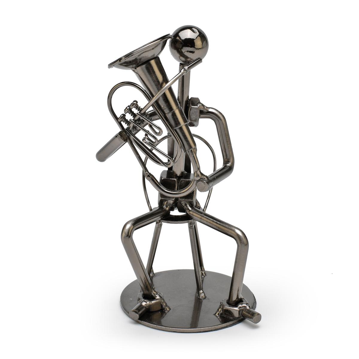 Handcrafted Metal Musician with Tuba Figurine