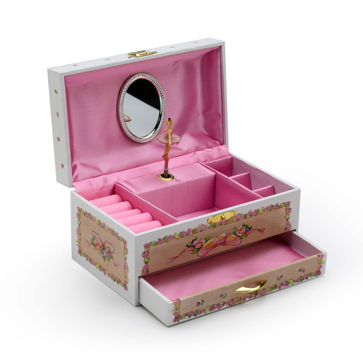 Adorable White and Pink Ballerina Musical Ballerina Jewelry Box with Drawer