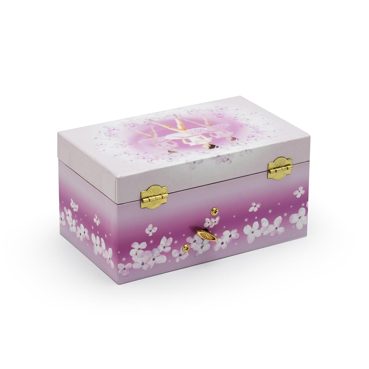 White and Purple 3 Ballerinas Musical Ballerina Jewelry Box with Drawer