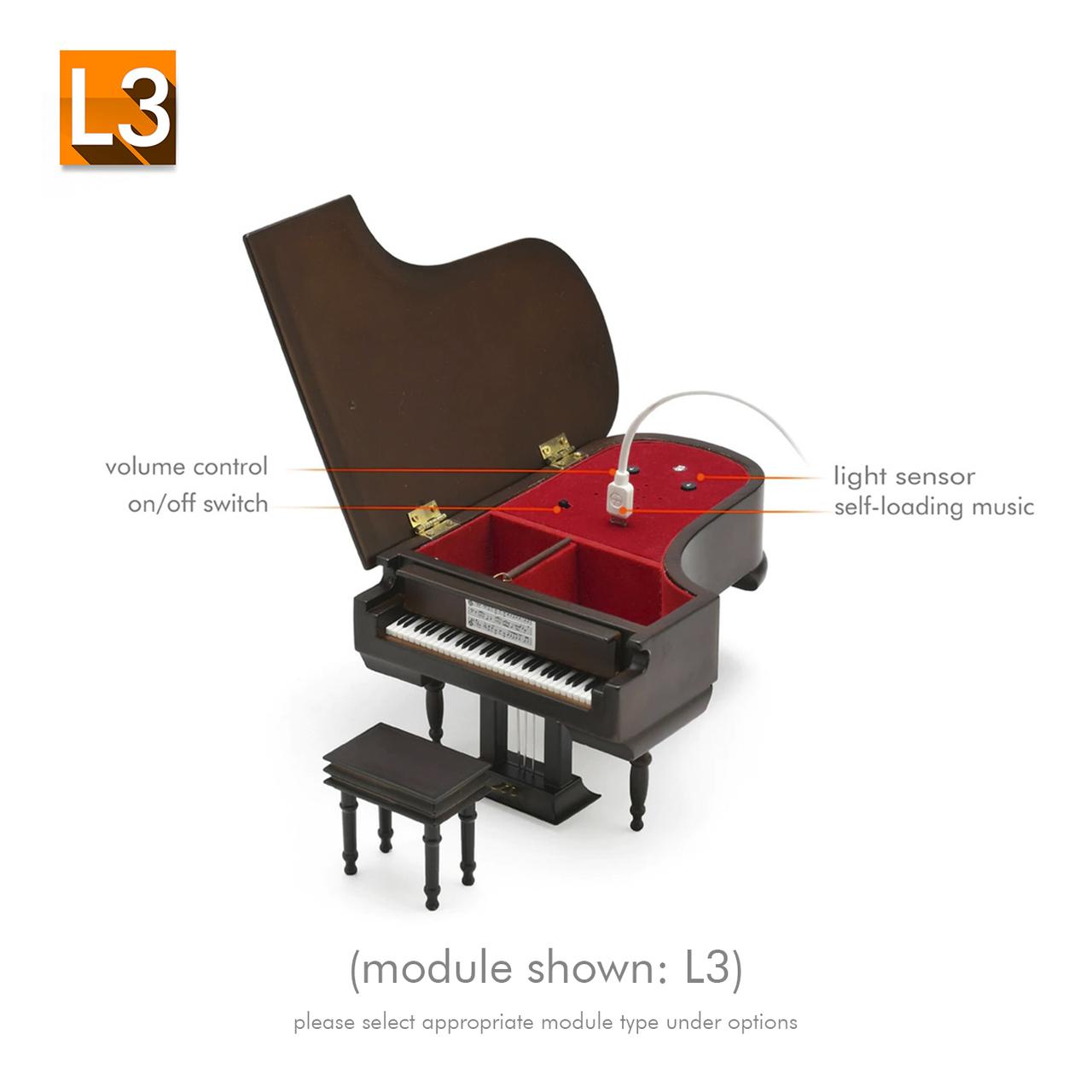 Miniature Matte Brown Custom USB Sound Module Grand Piano with Bench
