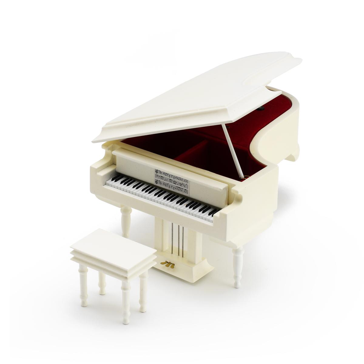 Miniature Matte White Custom USB Sound Module Grand Piano with Bench