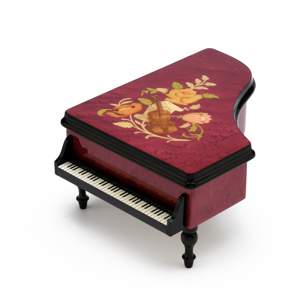 Brilliant 18 note Red Wine Grand Piano with Violin and Floral Inlay Music Box