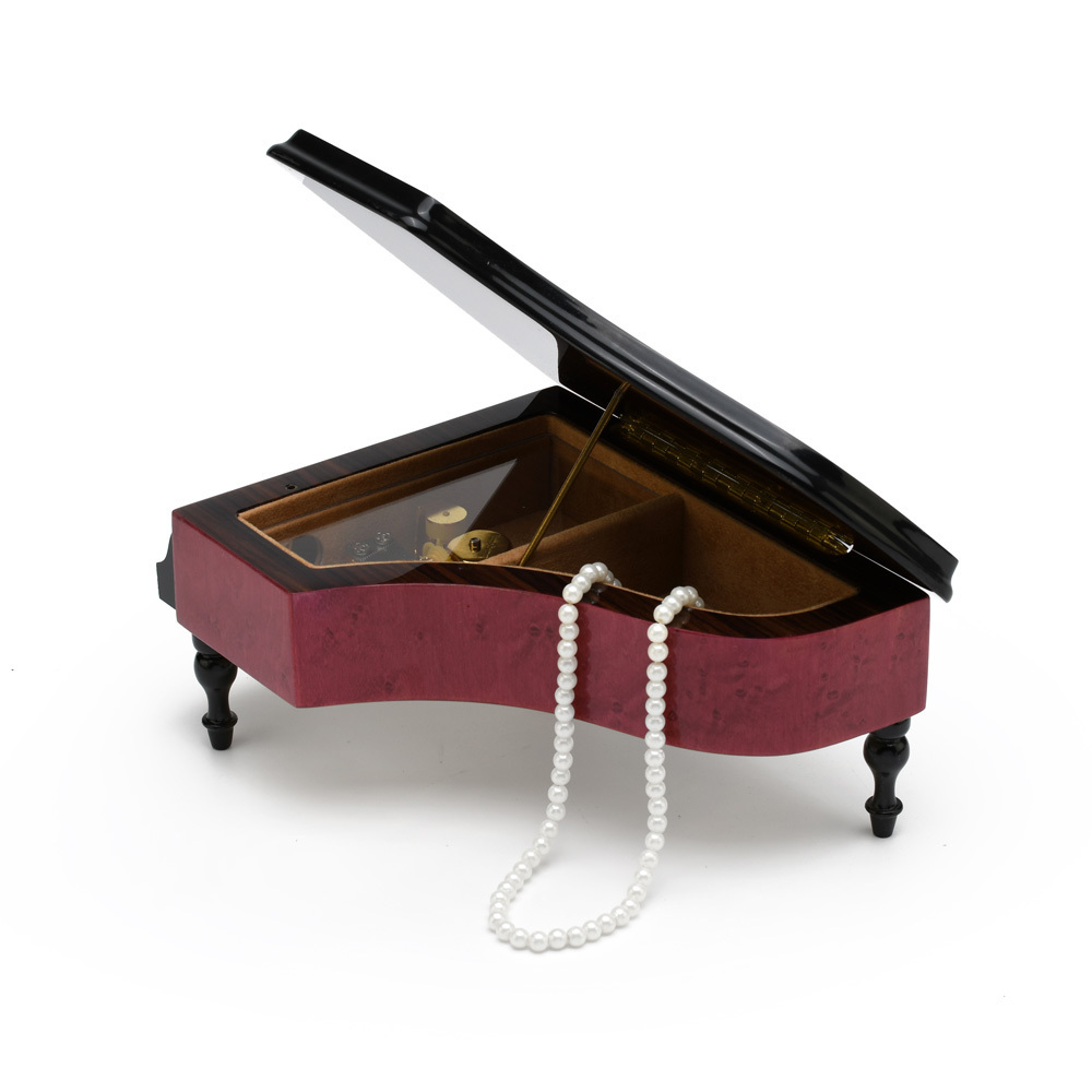 Brilliant 22 Note Red Wine Grand Piano with Violin and Floral Inlay Music Box