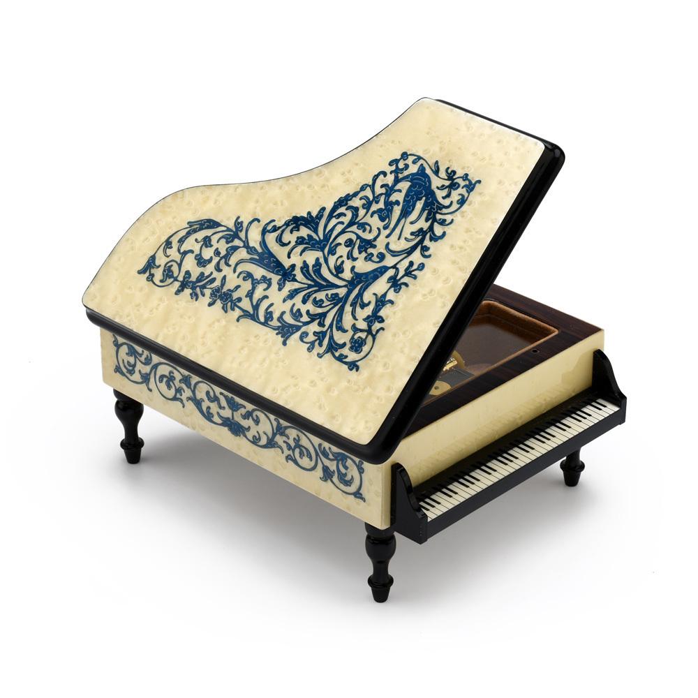 Ornate 18 Note White Grand Piano with Blue Arabesque Inlay Music Box