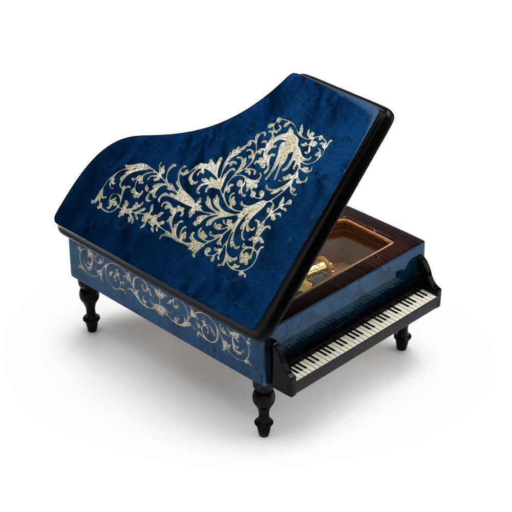 Incredible Full All Around Inlay 30 Note Royal Blue Grand Piano Arabesque Inlay Music Box