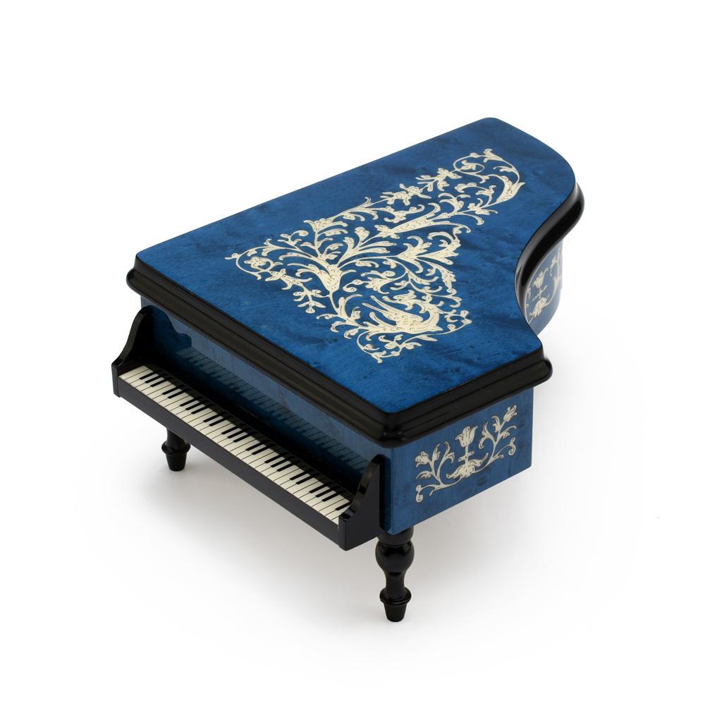 Incredible Full All Around Inlay 36 Note Royal Blue Grand Piano Arabesque Inlay Music Box