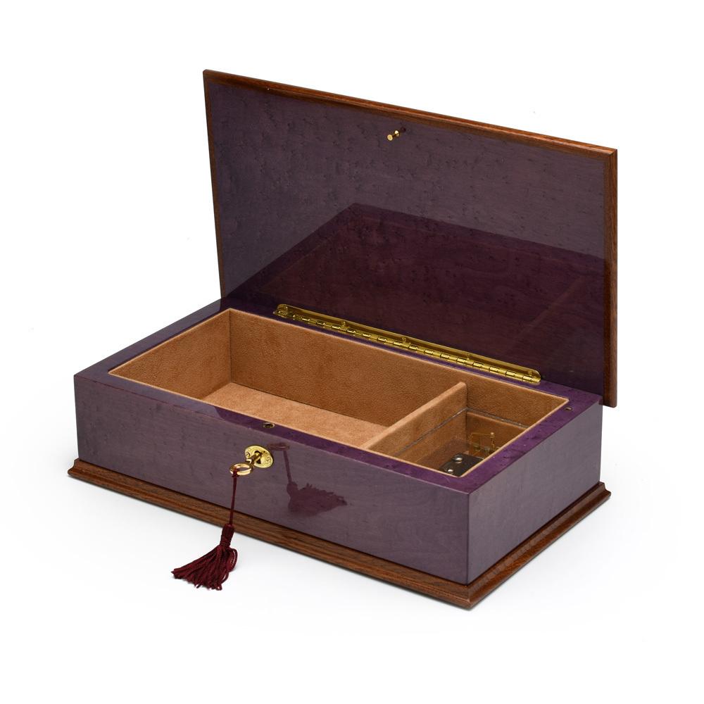 Exquisite 18 Note Hi Gloss Purple Grand Italian Arabesque Wood Inlay Musical Jewelry Box