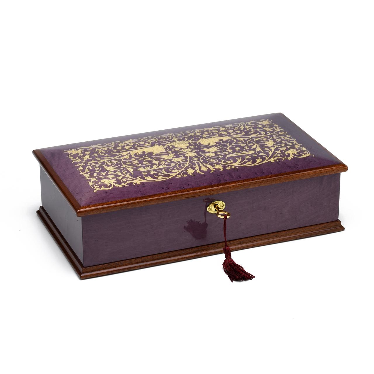 Exquisite 22 Note Hi Gloss Purple Grand Italian Arabesque Wood Inlay Musical Jewelry Box