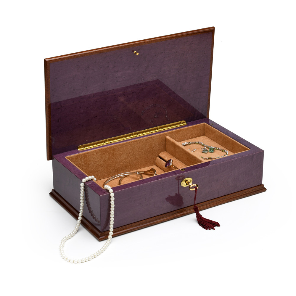 Exquisite 30 Note Hi Gloss Purple Grand Italian Arabesque Wood Inlay Musical Jewelry Box