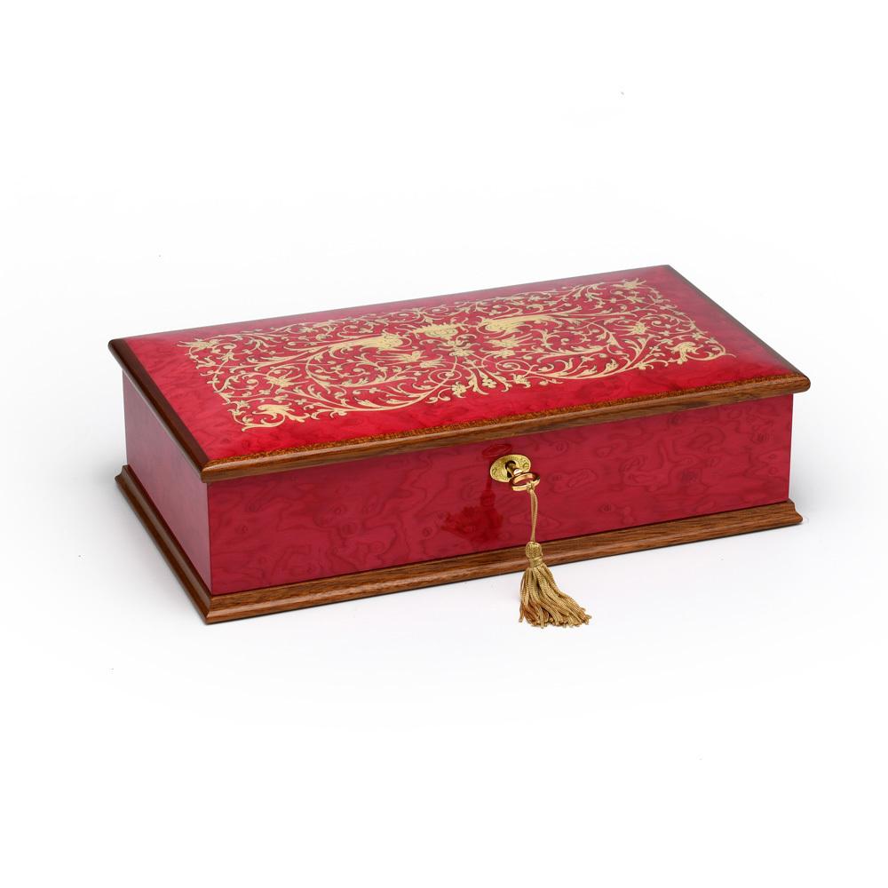 Beautiful 18 Note Red Wine Grand Italian Arabesque Wood Inlay Musical Jewelry Box
