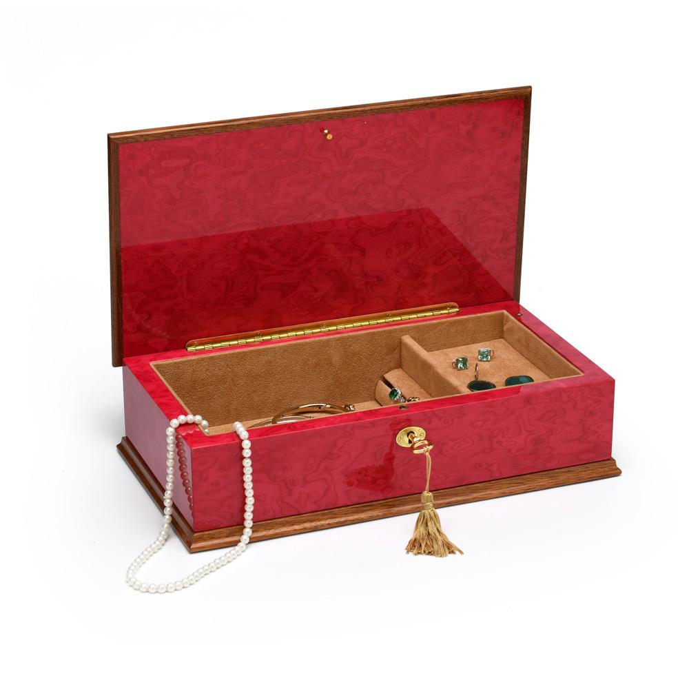 Beautiful 22 Note Red Wine Grand Italian Arabesque Wood Inlay Musical Jewelry Box
