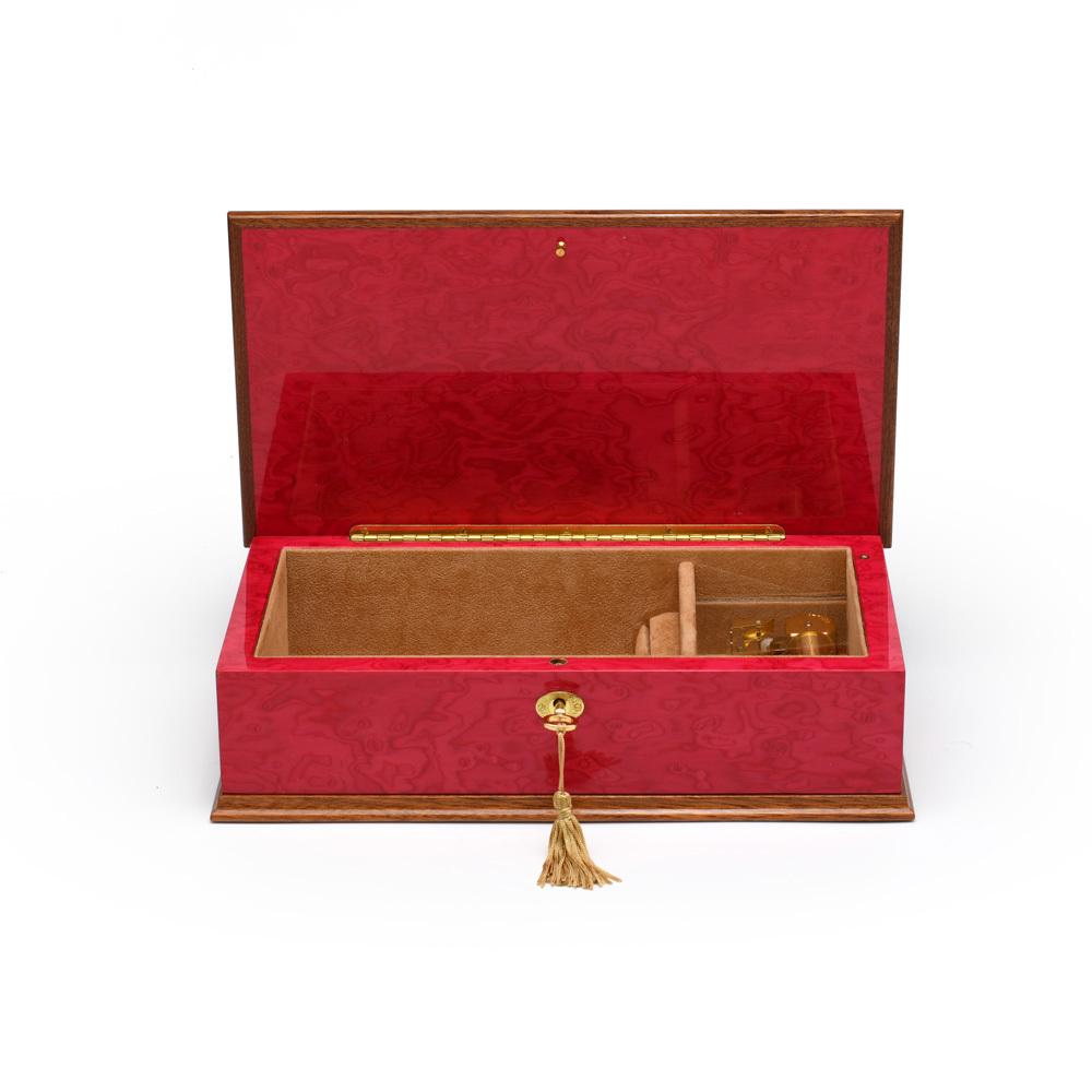 Beautiful 30 Note Red Wine Grand Italian Arabesque Wood Inlay Musical Jewelry Box
