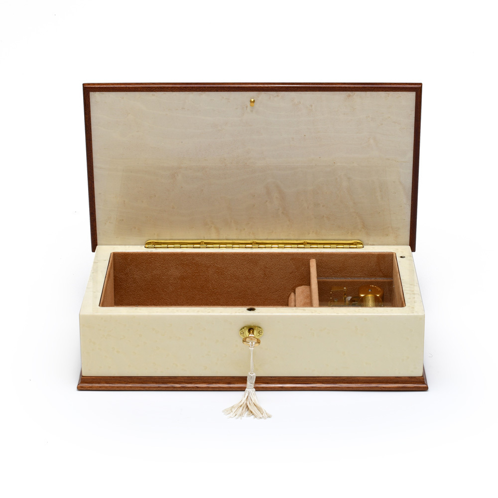 Prestigious 18 Note Ivory White Grand Italian Arabesque Wood Inlay Musical Jewelry Box