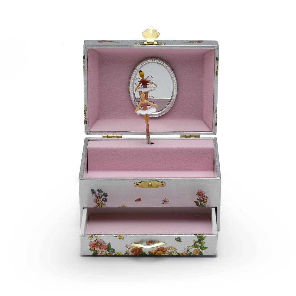 Silver Fairies and Flowers Musical Spinning Ballerina Jewelry