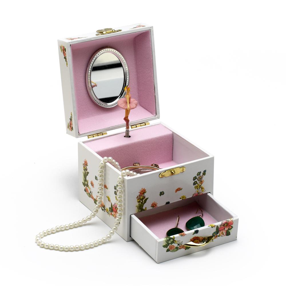 Petite White Fairy with Flowers Ballerina Musical Spinning Ballerina Jewelry Box