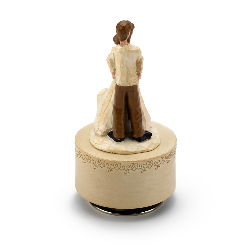 Sculpted Wooden Style Musical Figurine of Devoted Couple in Embrace
