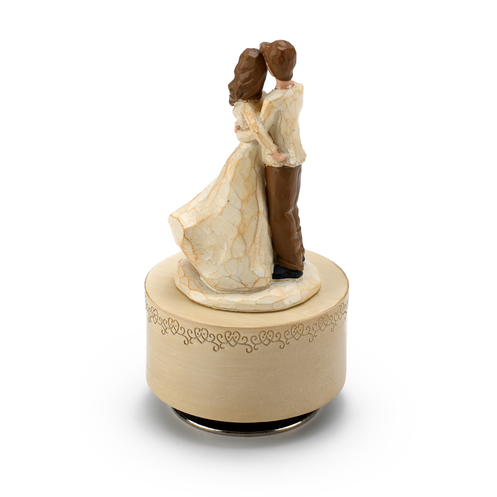 Sculpted Wooden Style Musical Figurine of Devoted Couple in Embrace - Choose Your Song