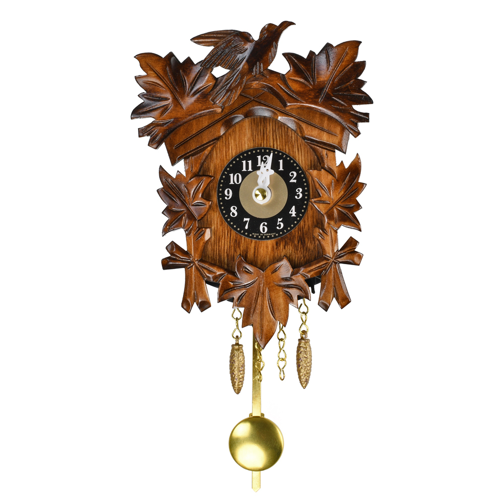 Traditional Carved Black Forest Quartz Cuckoo Clock with 5 leaves and Bird