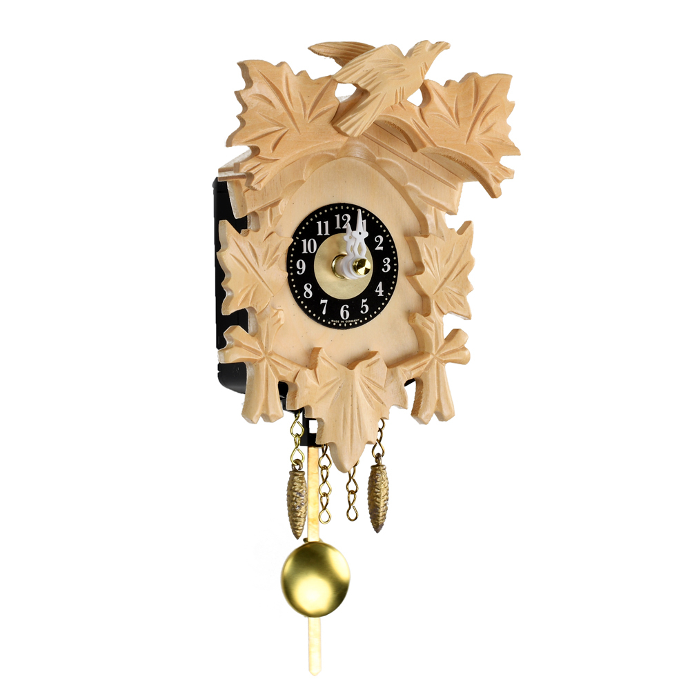 Traditional Carved Black Forest Quartz Blonde Mini Cuckoo Clock with 5 Leaves