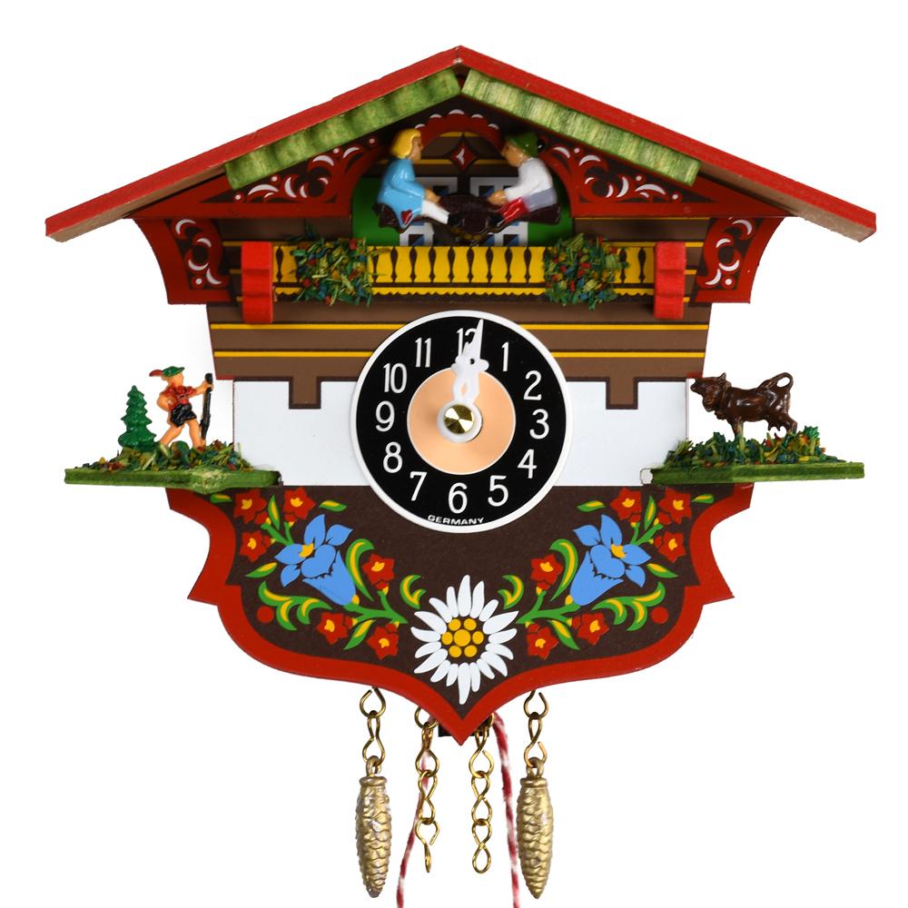 Black Forest Quartz Alpine House Cuckoo Clock with Children on Seesaw