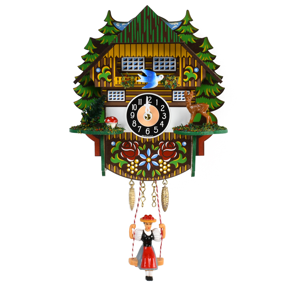 Mini Swinging Doll Black Forest Quartz Clock