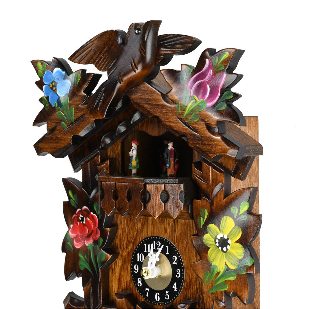 Traditional Carved Alpine Flowers Black Forest Quartz Cuckoo Clock