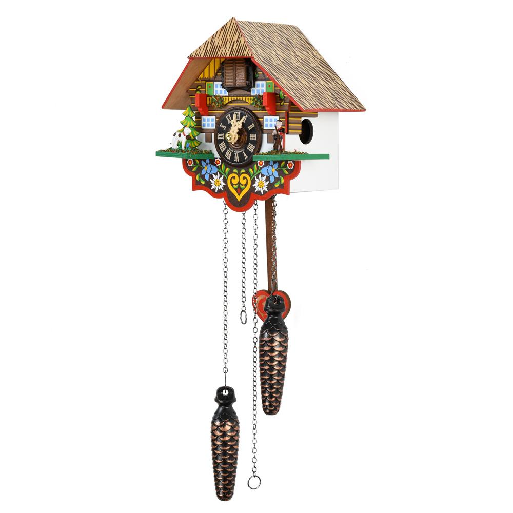 Colorful Black Forest Chalet Quartz Cuckoo Clock with Heart Pendulum