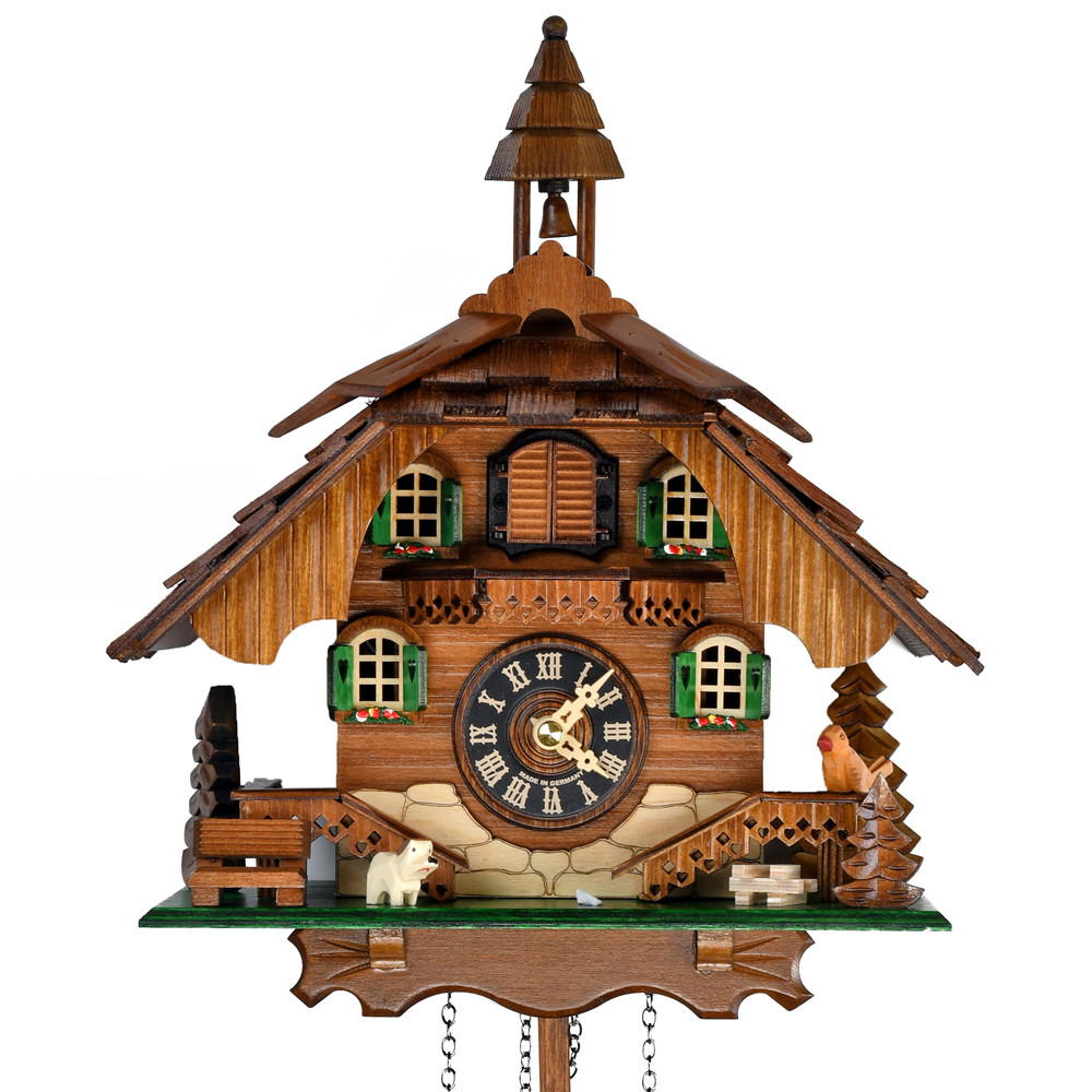 Black Forest Chalet with Green Shutters and Bell Tower Quartz Musical Cuckoo Clock