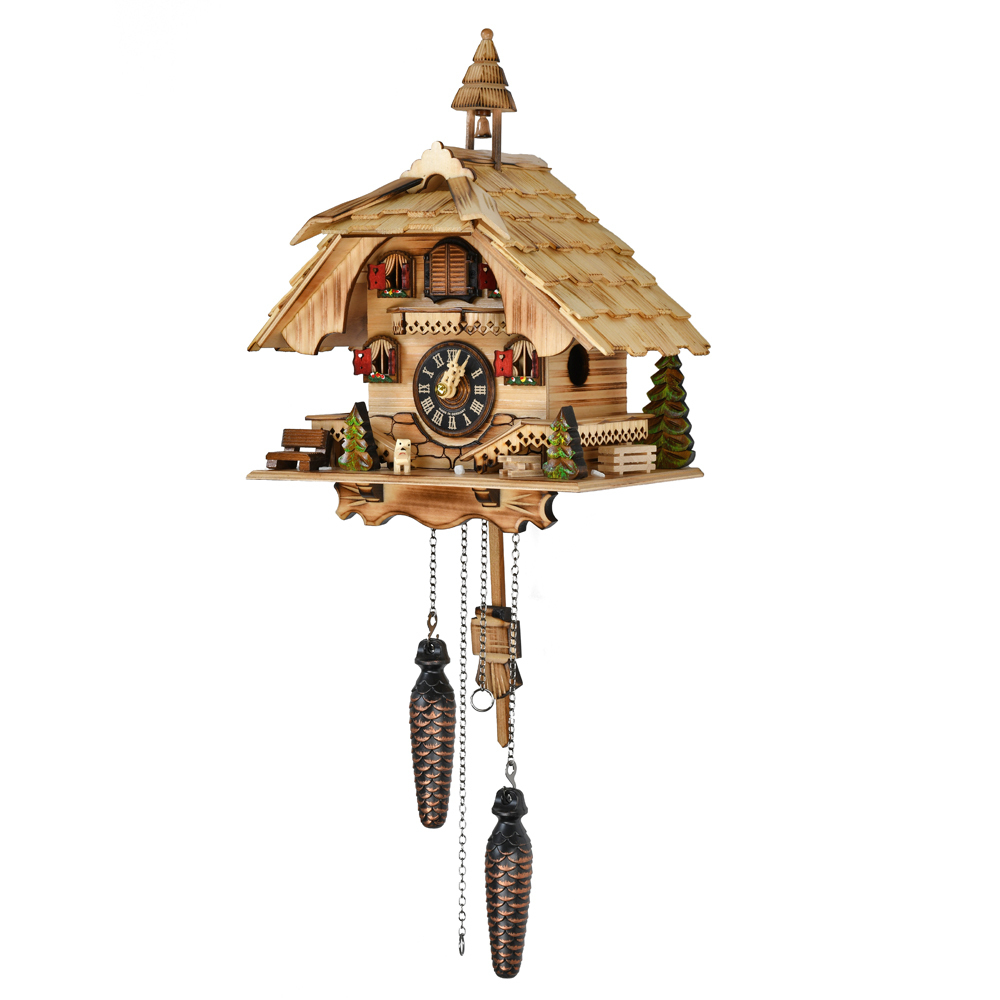Rustic Burnt Black Forest Chalet with Bell Tower Quartz Musical Cuckoo Clock