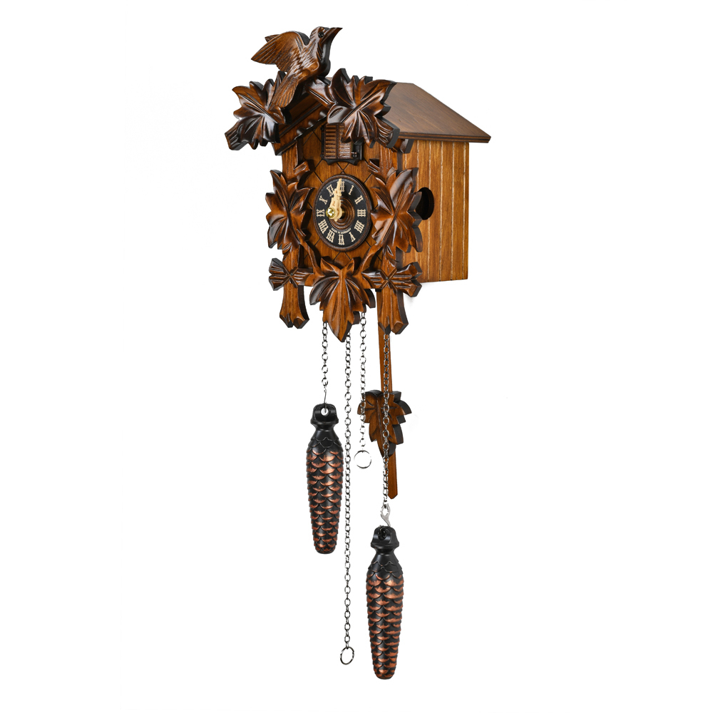 Traditional Carved 5 Leaves and Bird Black Forest Quartz Cuckoo Clock