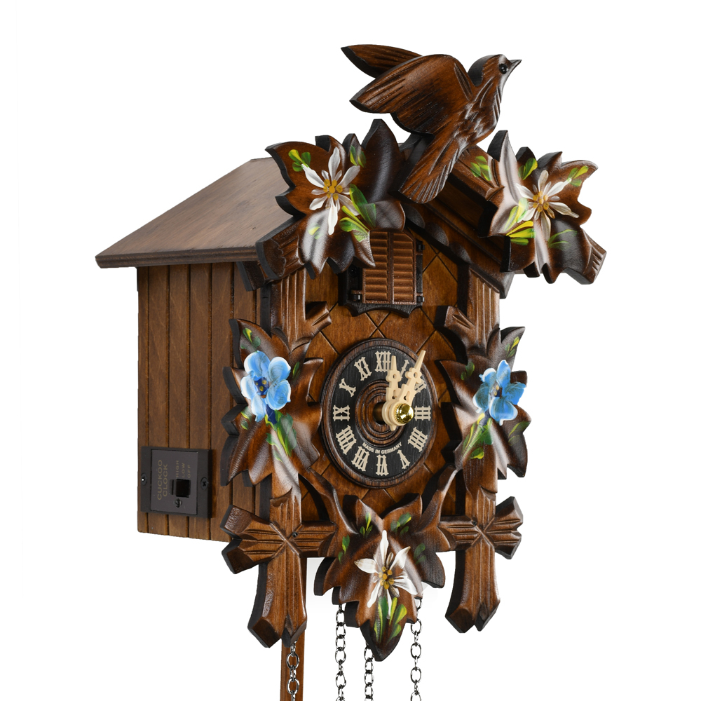 Traditional Carved Hand Painted Edelweiss 5 Leaves and Bird Black Forest Quartz Cuckoo Clock