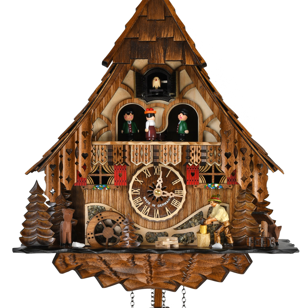 Elaborate A Frame Chalet Black Forest Musical Quartz Cuckoo Clock with Animated Dancing Couples and Wood Chopper