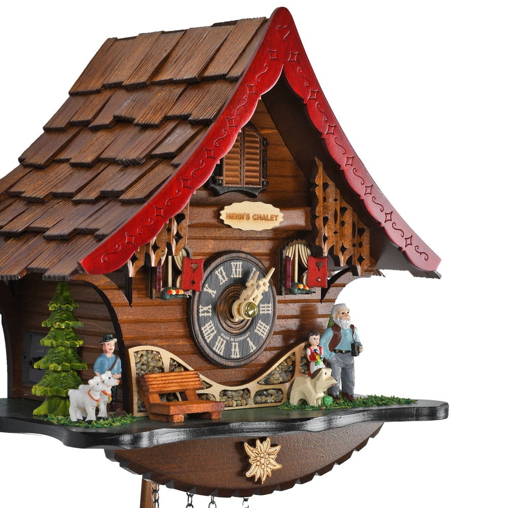 Heidis Chalet Black Forest Quartz Cuckoo Clock with Red Roof and Family