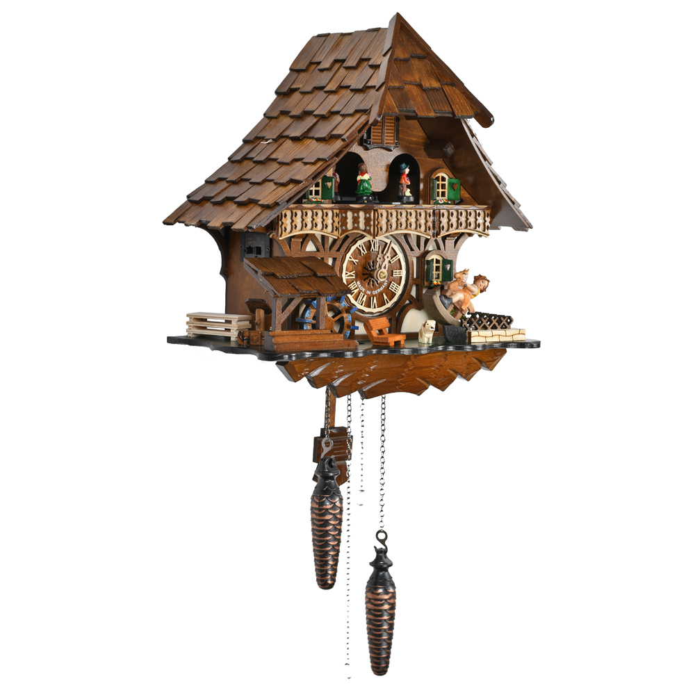 Stunning Wooden Black Forest Chalet Quartz Cuckoo Clock with Dancing Couple, Watermill Wheel and Rocking Horse