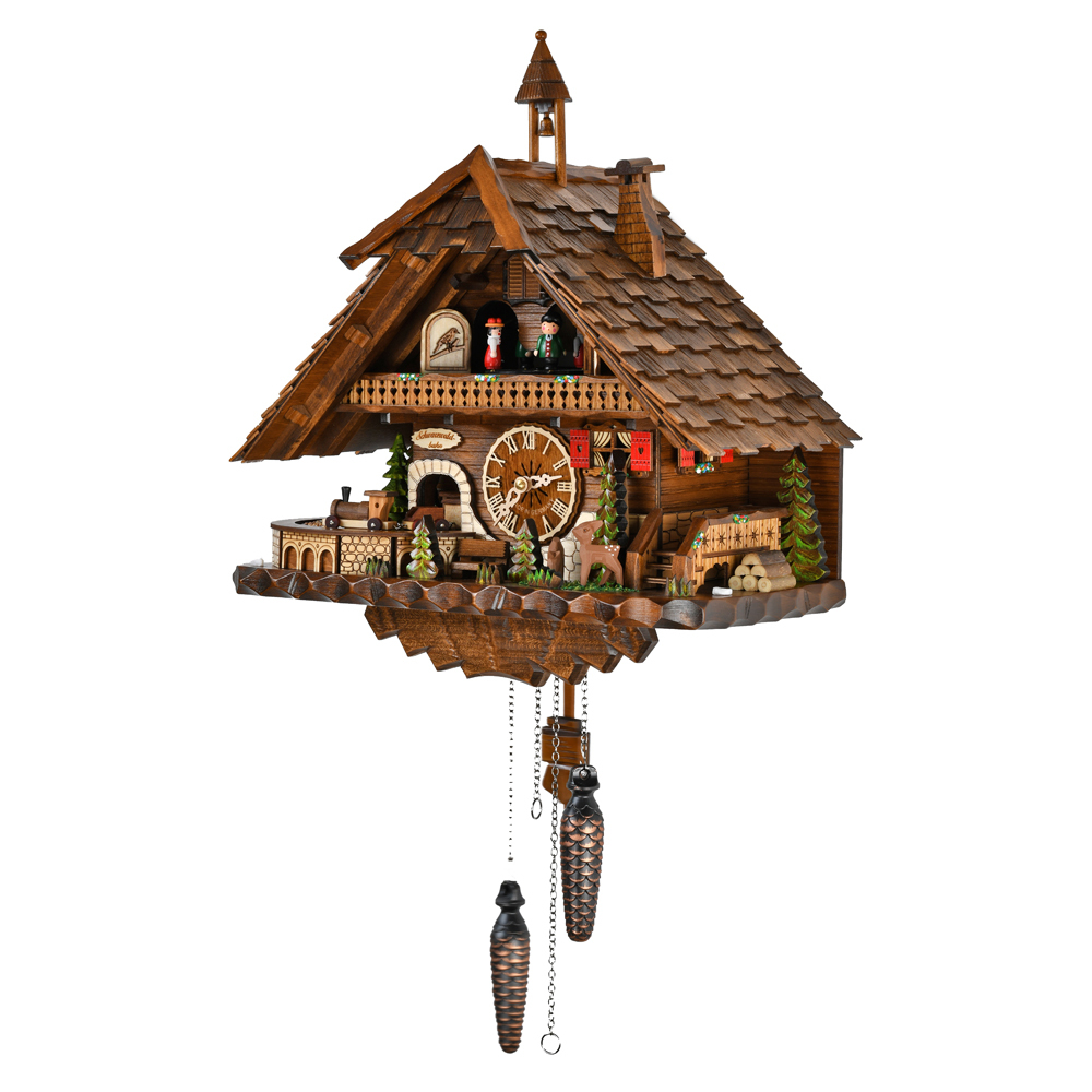 Masterpiece Black Forest Chalet with Bell Tower Quartz Cuckoo Clock with Dancing Couple and Train