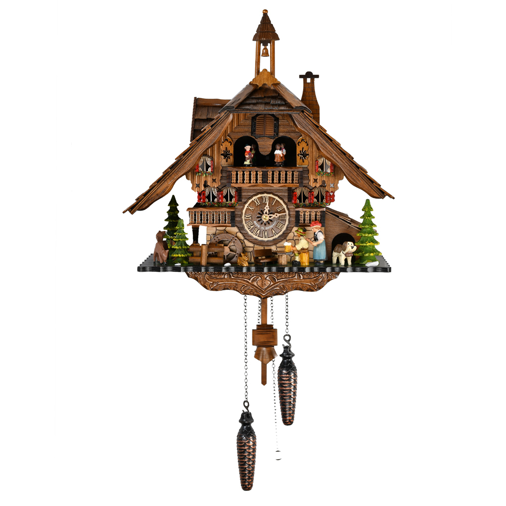 Grand Black Forest Chalet with Bell Tower Quartz Cuckoo Clock with Dancing Couple, Watermill Wheel, Beer Drinker and Woman