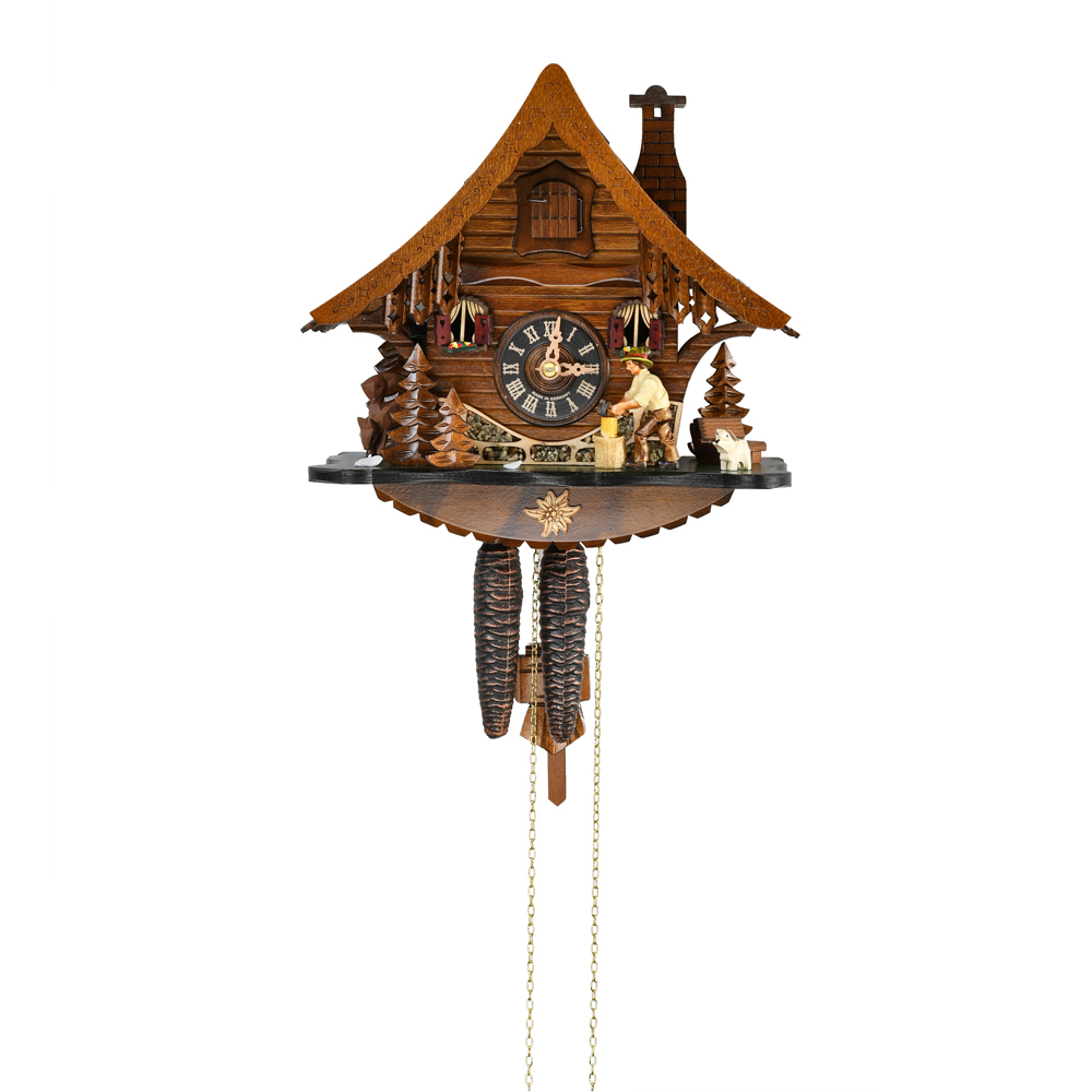 Black Forest Chalet with Animated Wood Chopper 1 Day Mechanical Cuckoo Clock