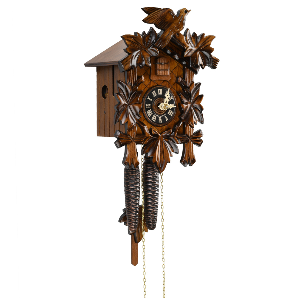 Gorgeous Traditional Carved Black Forest 1 Day Mechanical 5 Leaves and Bird Cuckoo Clock