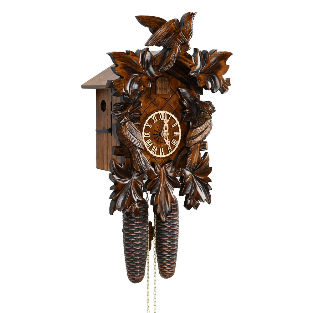 Majestic Carved Black Forest 8 Day Mechanical Traditional 5 Leaves and 3 Birds Cuckoo Clock