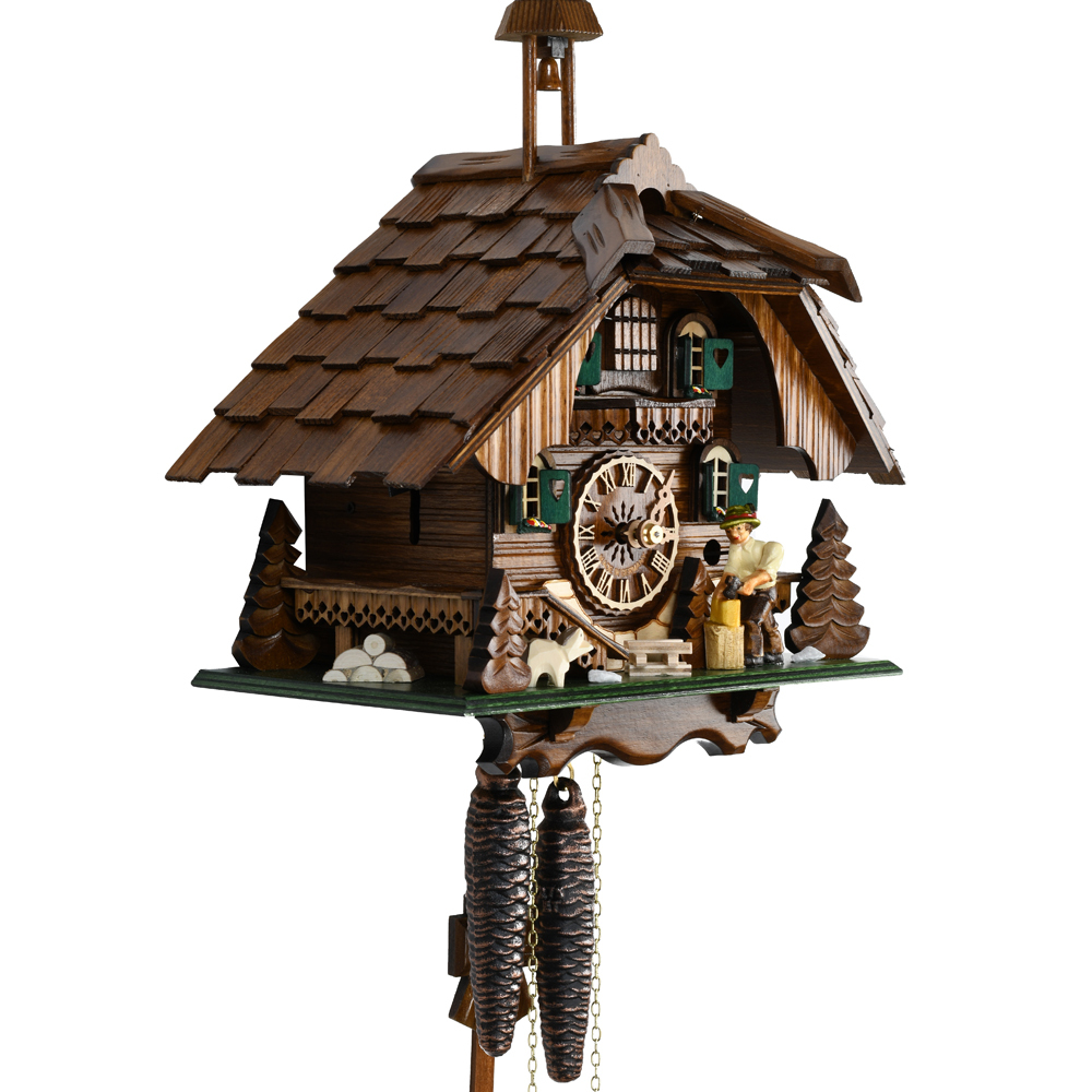 Black Forest Chalet with Bell Tower and Animated Wood Chopper 1 Day Mechanical Cuckoo Clock